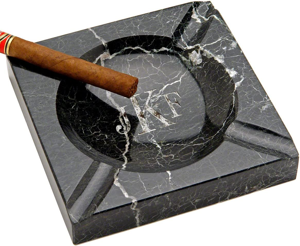 Personalized Custom Black Marble Popular Max 54% OFF Square Ashtray HomeWet by Cigar