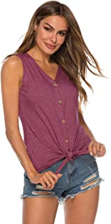 Womens Cotton Tunic Tee Tie Knot Henley Tops Casual T-Shirts V Neck Short Sleeve Button Up Loose Fits Blouse S-XXL
