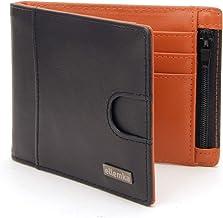 Ellemka – plånbok portmonnä plånbok | äkta läder RFID Slim Black Orange Bi-Colour | män män | presentbox – modell VABB