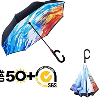 ABCCANOPY Inverted Umbrella,Double Layer Reverse Windproof Teflon Repellent Umbrella for Car and Outdoor Use, UPF 50+ Big Stick Umbrella with C-Shaped Handle and Carrying Bag, Ice and Fire