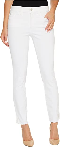 Ami Skinny Ankle Jeans w/ Fray Side Slit in Optic White