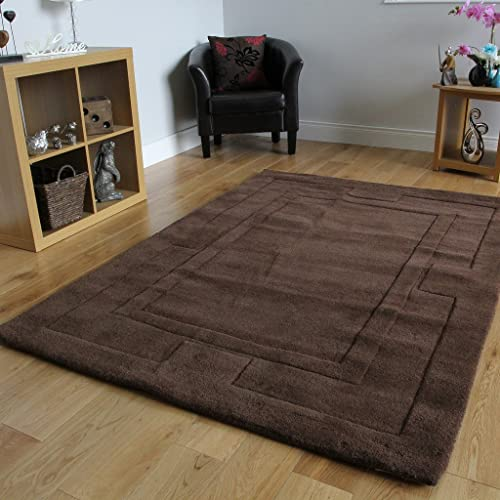 New Soft 100 Wool Thick Border Design Chocolate Brown Dining Room Rug 4 Elements