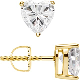 14K Solid White or Yellow Gold Stud Earrings   Heart Cut Cubic Zirconia   Screw Back Posts   1.5 CTW   With Gift Box