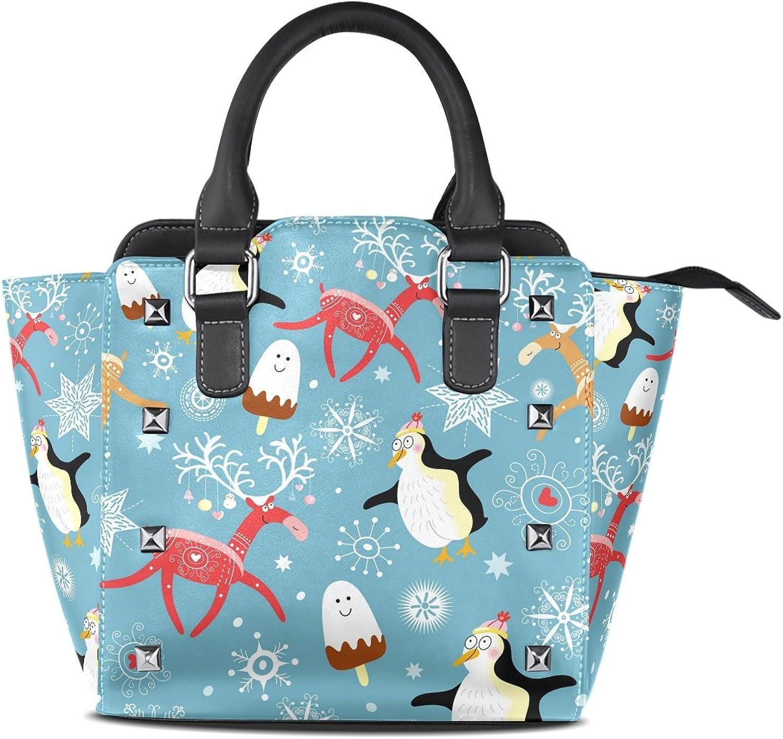 My Little Nest Women's Top Handle Satchel Handbag Cute Penguins and Deers Ladies PU Leather Shoulder Bag Crossbody Bag