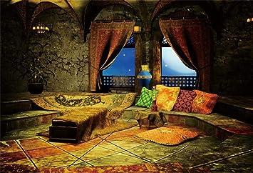 Amazon Com Leowefowa 10x8ft Vinyl Arabian Moroccan Theme Palace Backdrop Castle Carpet Pillows Window View Starry Sky Arabian Night Party Background Event Party Photography Decoration Portrait Photo Booth Props Camera