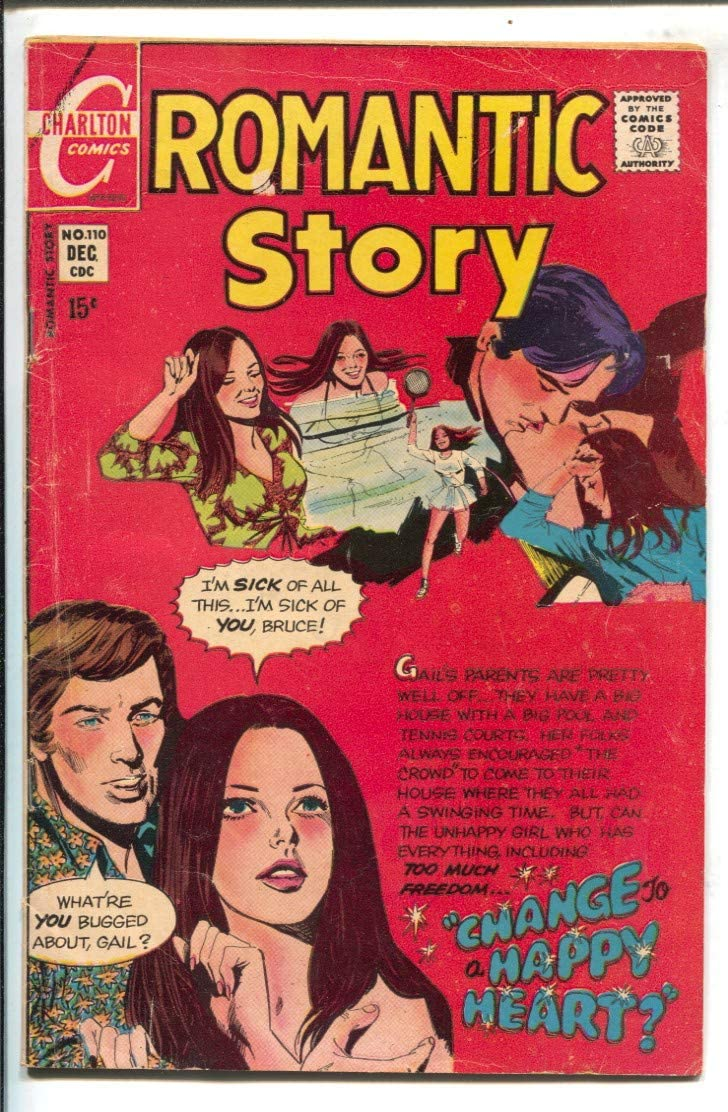 Romantic Story Free shipping #110 1970-Charlton-hippies-swinger Pete story Year-end annual account by