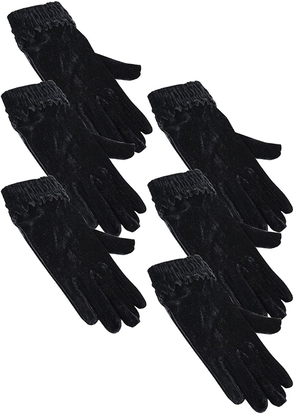 uxcell Women Cold Proof Warm Windproof Elastic Wrist Stylish Flannelette Gloves 6 Packs