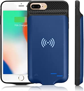 Qi Battery Case for iPhone 6 Plus/6S Plus/7 Plus/8 Plus, 5000mAh Portable Wireless Charging Battery Extra Battery External Battery Case Battery Rechargeable Power Bank Battery Case (5.5 inch)-Blue