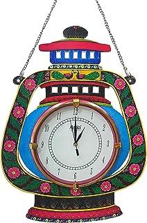 SA SHIVA ARTS Lalten/Lamp Design Wood Wall Clock (12 x 16 inch, Multicolour)