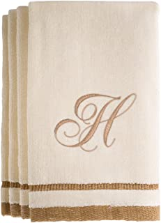Monogrammed Gifts, Fingertip Towels, 11 x 18 Inches - Set of 4- Decorative Golden Brown Embroidered Towel - Extra Absorbent 100% Cotton- Personalized Gift- for Bathroom/Kitchen- Initial H (Ivory)