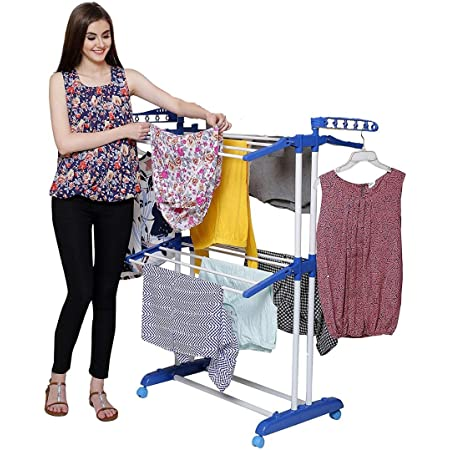 PARASNATH Prime Steel Mini Poll Clothes Drying Stand with Breaking Wheel System (Multicolour)