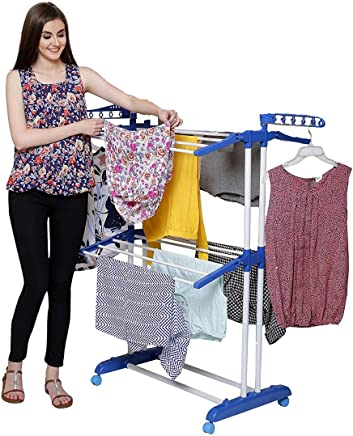 PARASNATH Prime Stainless Steel Mini Poll Clothes Drying Stand with Breaking Wheel System- Made in India