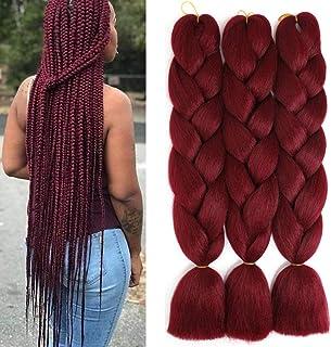 24 اینچ Jumbo Braiding Hair Extension Ombre Synthetic Hair for Box Braiding Twist Colorful Braids Hair Burgundy Braiding Hair (3Pcs / Lot Burgundy)