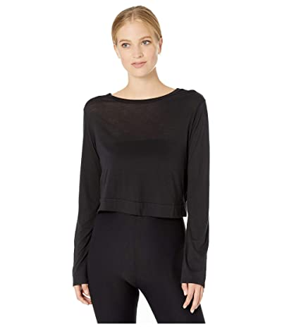 Beyond Yoga Back Out Reversible Cropped Pullover (Black) Women