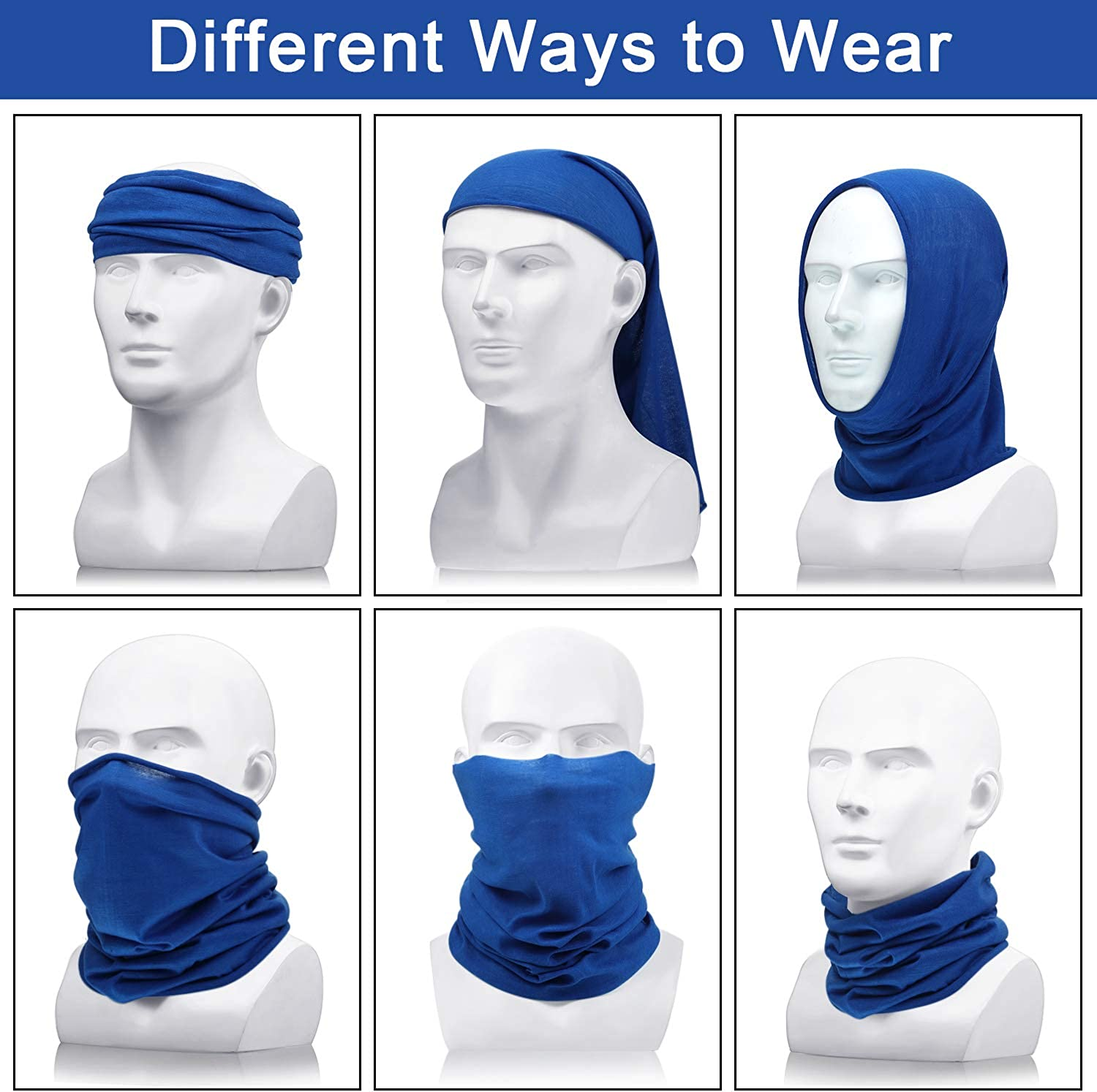 3 Cool Face Covering Seamless Summer Neck Gaiters for Men Balaclava Sun Protection for Outdoor