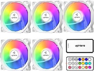 upHere 120mm RGB LED Ventilateur pour Boîtiers PC, Ultra Calme, 5-Pack avec Télécommande/C806-5