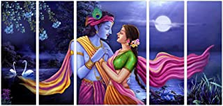 Art Amori Lord Krishna With Radhaset of 5 MDF PaintingMulticolour 12x18 Inch - 1 Piece + 6x18 Inch-4 pieces for Wall Paint...