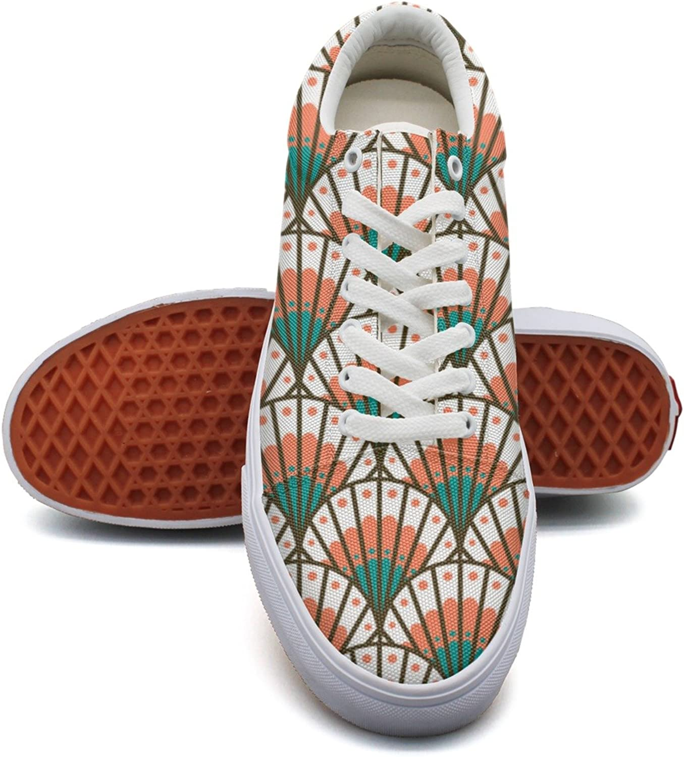 Feenfling Coral Scallop Shell Beach Pattern Womens Navy Canvas shoes Low Top Cute Sneakers for Women's