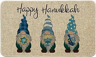 Artoid Mode Gnomes Happy Hanukkah Decorative Doormat Blue, Seasonal Winter Judaica Holiday Low-Profile Floor Mat Switch Ma...