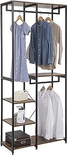 EUGAD 0156XJYJ Portemanteaux Haut Portant avec étagère de Rangement Style Vintage Penderie de vêtements avec 2 tringles So...