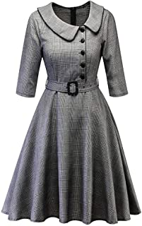 iLUGU Vintage Knee-Length Dress For Women Half Sleeve Turn-Down Collar Plaid Button Belt A-Line Princess Party Gown