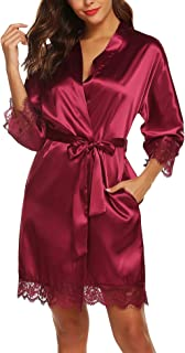 Women's Satin Silk Bathrobe Oblique V-Neck Short Kimono Robe Bridesmaids Robe S-XXL