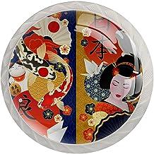 AITAI Japanse Geisha Kleurrijke Karpers Kraan Lucky Cat Ronde Kast Knop 4 Pack Trekt Handvatten