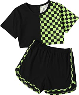 Romwe Girl's 2 Piece Shorts Set Graphic Crop Tops and Shorts Athletic Outfit
