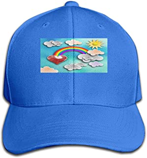 Unisex Classic Sky Clouds 3D Rainbow Sun Baseball Cap Cotton Skull Cap Black