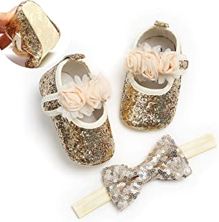 Infant Baby Girl Shoes,Baby Mary Jane Flats Princess Dress Shoes with Headband for Newborns, Infants, Babies, and Toddlers