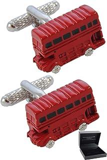 COLLAR AND CUFFS LONDON - Gemelli di Alta qualità e Scatola Regalo - Ottone - Autobus di Londra - Inghilterra Britannico C...