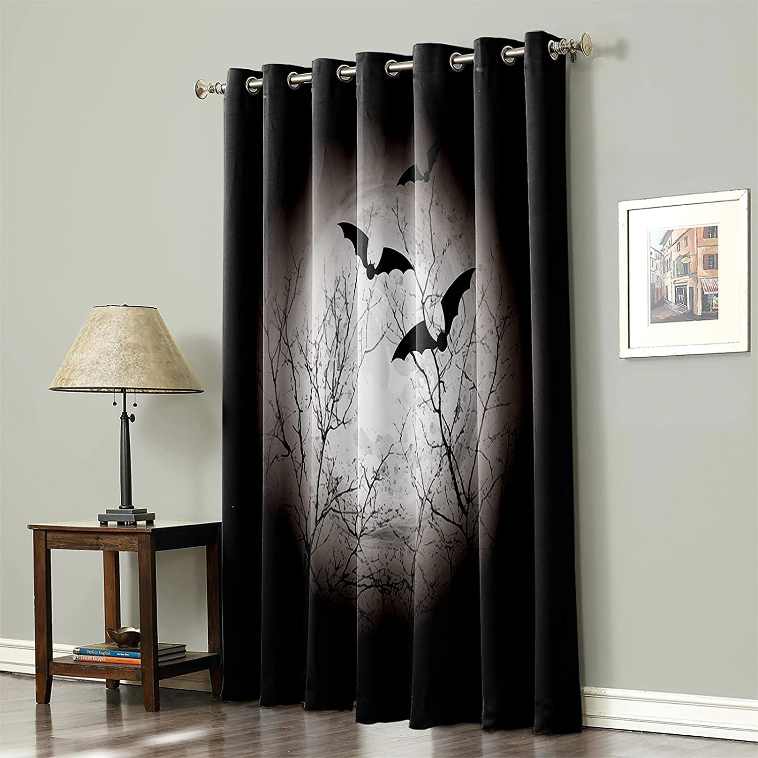 Blackout Curtain for Bedroom Halloween Bat Ther Full-Moon Large special price !! wholesale Night