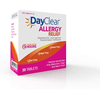 DayClear Allergy Relief - Fast Acting 8 Hour Tablets Cough Suppressant & Antihistamine – 8 Hour Relief 30 Tablets