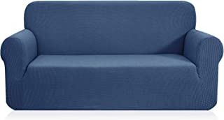 CHUN YI 1-Piece Jacquard High Stretch Sofa Slipcover, Polyester and Spandex 3 Seater Cushion Couch Cover Coat Slipcover, Furniture Protector Cover for Sofa and Couch (Sofa, Denim Blue)