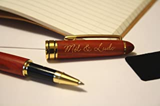 Penna personalizzata con vostro testo, penna roller di legno rosso, scrittura incisa e dorata, regalo personalizzato