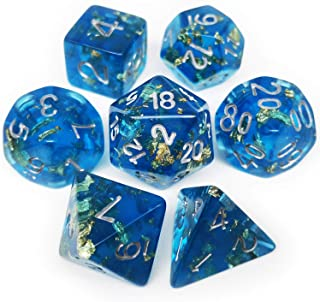 Haxtec DND Dice Set 7PCS Polyhedral Dice for Roleplaying Dice Games as Dungeons and Dragons-Blue Gold Leaf/Foil Polyhedral Dice (Blue Gold Foil(Plankton))