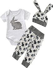 Shalofer Baby Boys Girls Infant My First Easter Bunny Print Bodysuit Rabbit Romper