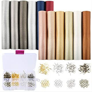 Caydo 12 Pieces Leather Earring Making Kit Include Litchi Faux Leather Sheets, Jump Ring and Earring Hooks for DIY Jewelry Earrings Craft Making Supplies