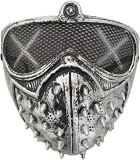 Halloween Punk Devil Cosplay Anime Stage Mask Ghost Steps Street Masquerade Death Masks Watch Dogs Rivet Party Face Masks - Silver