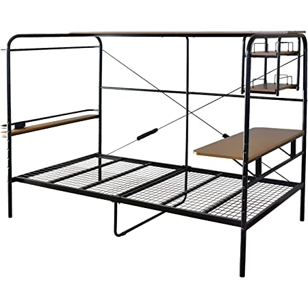 DORIS ベッド ベッドフレーム パイプベッド シングル 収納 デスク ハンガーラック コンセント付き ブラック カル S