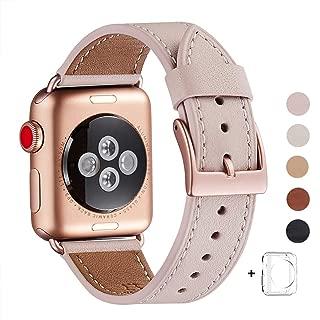 WFEAGL コンパチブル Apple Watch バンド,は本革レザーを使い、iWatch Series 5/4/3/2/1、Sport、Edition向けのバンド交換ストラップです コンパチブル アップルウォッチ バンド (38mm 40mm, ピンクの砂 バンド+ゴールド 四角い バックル)