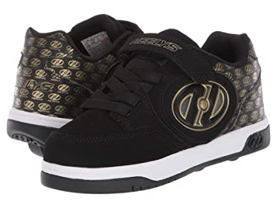 Heelys Plus X2 Lighted (Little Kid/Big Kid) (Black/Gold/Logo) Boys Shoes