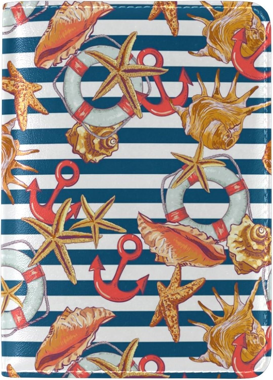 COOSUN Sommer Muster mit Muscheln Anchor Anchor Anchor Leder Passhülle Cover für Travel One Pocket B076D2Z6F3  Unsere Kleidung gibt Ihnen viel SelbstGrünrauen c164b9