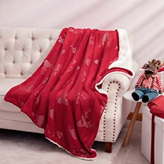 Bedsure Metallic Sherpa Fleece Christmas Blanket for Sofa, Couch and Bed - Reindeer Pattern - Soft & Cozy - Plush Blanket for Outdoor, Indoor, Camping, Gifts - Red, 50x60 inches
