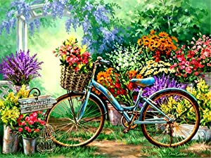 CaptainCrafts New DIY Oil Painting Paint by Numbers Kit 16x20for Adult Beginner Kids, Linen Canvas New Year Home House Decor - Fresh Garden Bicycle (with Frame)