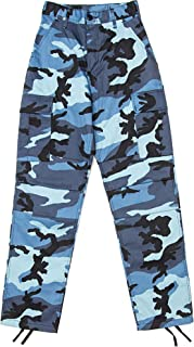 Sky Blue Camouflage Military BDU Pants Cargo Fatigues Fashion Trouser Camo Bottoms