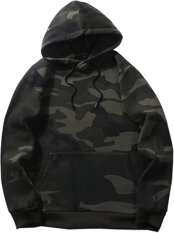 JOLIFEI Men's Pullover Hoody Winter Warm Thick Fleece Lined Coat Camouflage Outdoor Hoodie