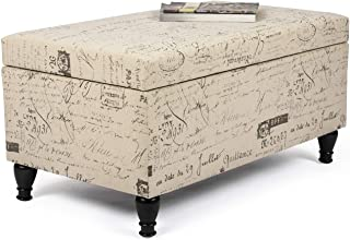 Asense Fabric Storage Ottoman Bench Footres with French Script, Beige