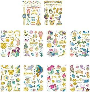 Beaupretty 10 stuks zeemeermin tattoo stickers glitter zeemeermin tijdelijke sticker cartoon gezicht lichaam tattoo sticke...
