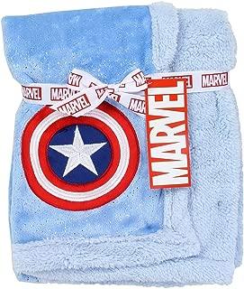 Avengers Super Soft Mink/Sherpa Blue Baby Blanket. 30 inch  x 30 inch
